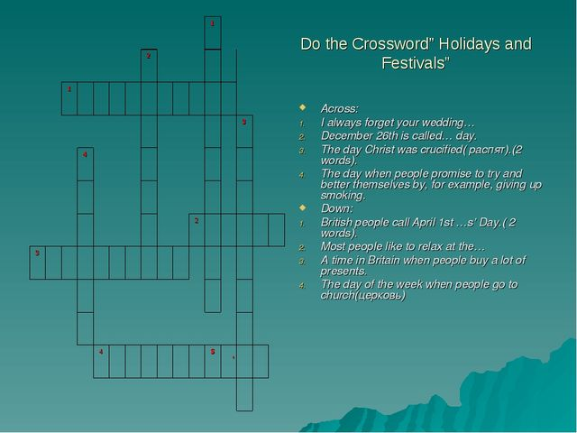 """Do the Crossword"""" Holidays and Festivals"""" Across: I always forget your weddin..."""