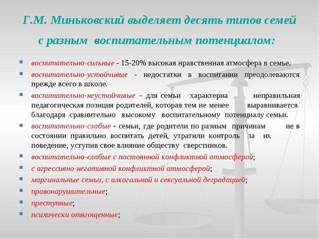 Г.М. Миньковский выделяет десять типов семей с разным воспитательным потенциа...