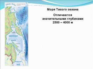 Моря Тихого океана Отличаются значительными глубинами 2500 – 4000 м