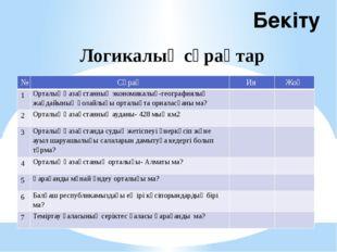 Бекіту Логикалық сұрақтар № Сұрақ Ия Жоқ 1 Орталық Қазақстанның экономикалық-