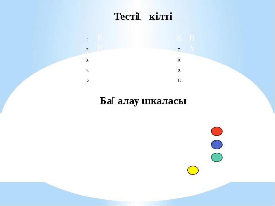 Тестің кілті Бағалау шкаласы Б В Ә Ә Б 6. В А В В Ә 10 сұрақдұрыс болса=«5» 9...
