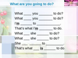 What are you going to do? What ____ you _______ to do? What ____ you _______