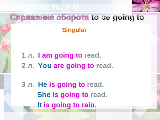 to be going to + V Singular 1 л. I am going to read. 2 л. You are going to re...