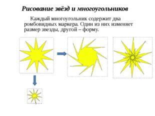Рисование звёзд и многоугольников Каждый многоугольник содержит два ромбовидн
