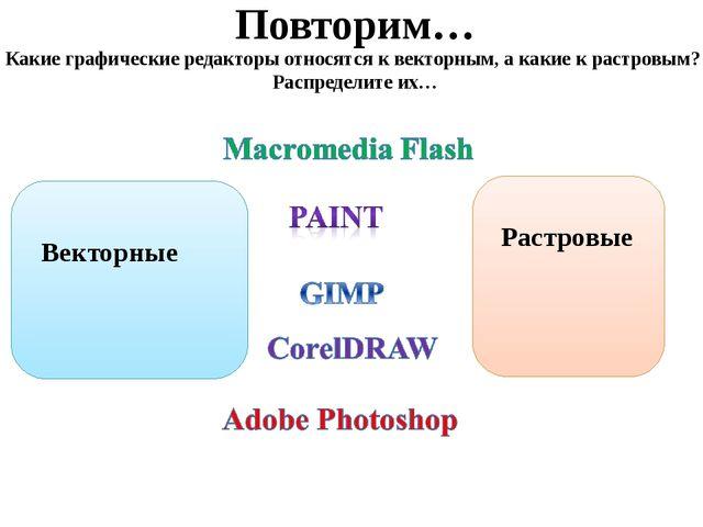 Повторим… Какие графические редакторы относятся к векторным, а какие к растро...