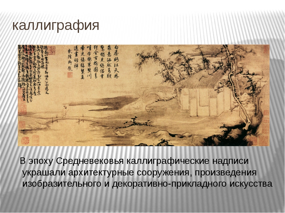 каллиграфия В эпоху Средневековья каллиграфические надписи украшали архитекту...