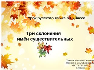 Алгоритм определения Три склонения имён существительных Урок русского языка в
