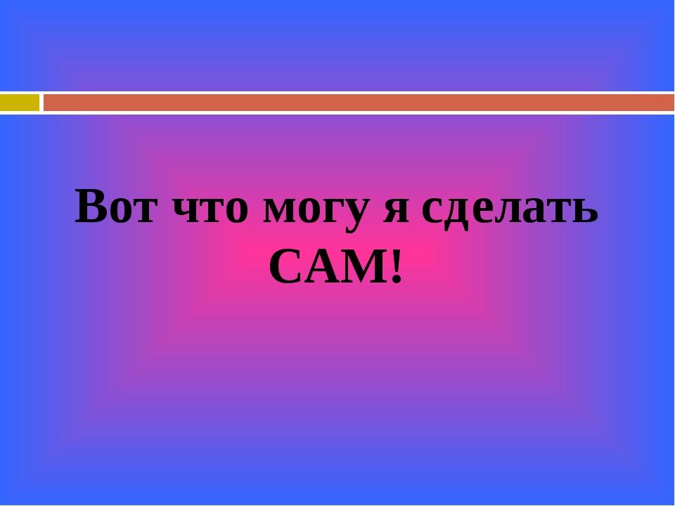 Вот что могу я сделать САМ!