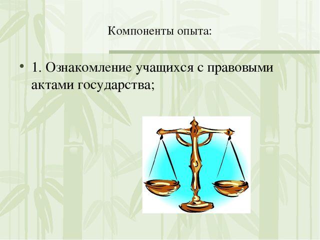 Компоненты опыта: 1. Ознакомление учащихся с правовыми актами государства;
