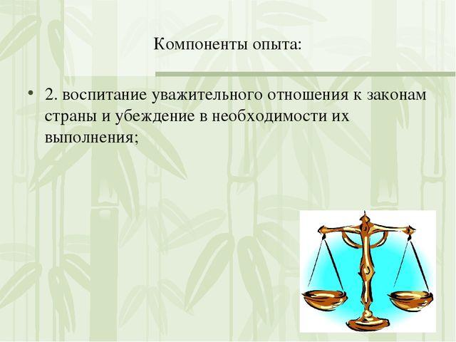 Компоненты опыта: 2. воспитание уважительного отношения к законам страны и уб...