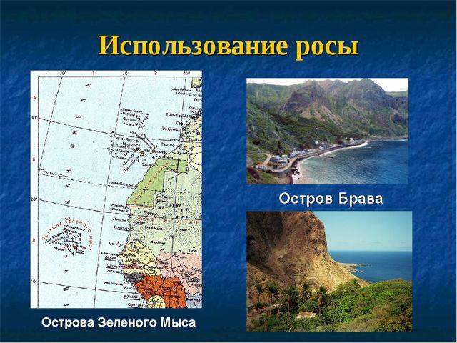 Использование росы Острова Зеленого Мыса Остров Брава