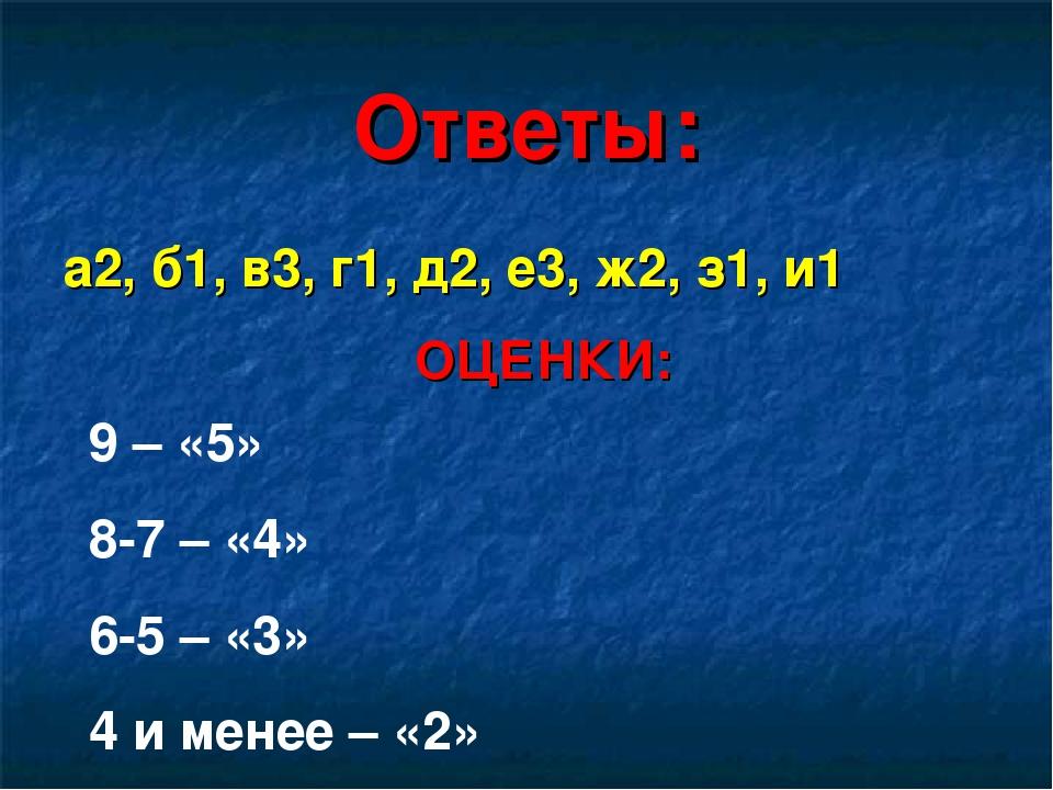 Ответы: а2, б1, в3, г1, д2, е3, ж2, з1, и1 9 – «5» 8-7 – «4» 6-5 – «3» 4 и ме...