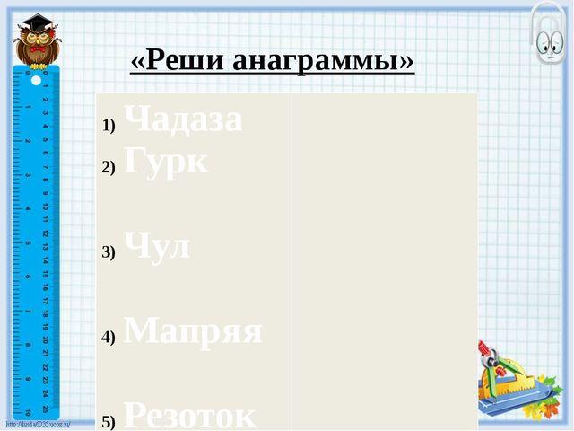 «Реши анаграммы» Чадаза Гурк Чул Мапряя Резоток