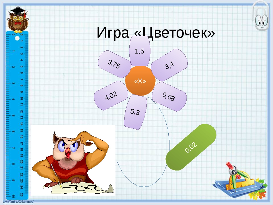 Игра «Цветочек» «Х» 1,5 3,4 0,08 5,3 3,75 4,02 0,02