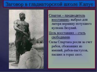 Заговор в гладиаторской школе Капуе Спартак – предводитель восставших; выбрал