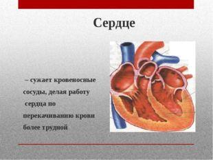 Сердце – сужает кровеносные сосуды, делая работу сердца по перекачиванию кров