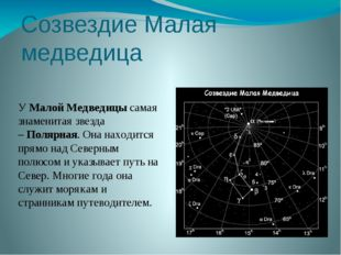 Созвездие Малая медведица УМалой Медведицысамая знаменитая звезда –Полярна
