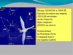 Между ЦЕФЕЕМ и ЛИРОЙ, Крылья раскинув над миром, ЛЕБЕДЬ неспешно летит в высо