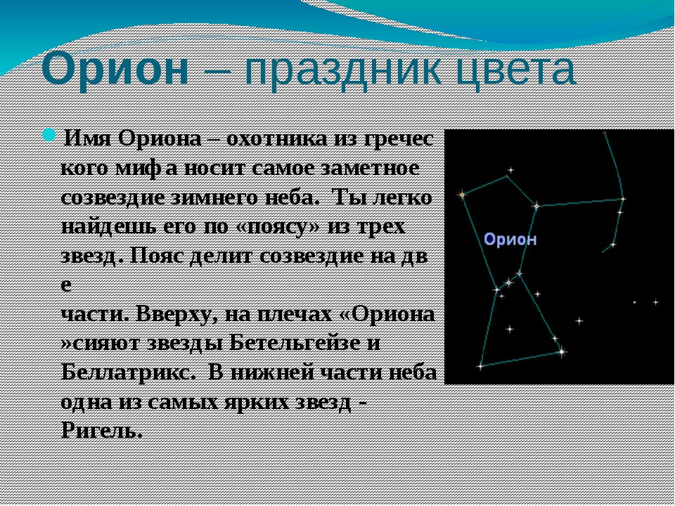 Орион–праздникцвета ИмяОриона–охотникаизгреческого мифаноситсамоез...