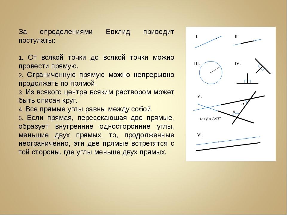За определениями Евклид приводит постулаты: От всякой точки до всякой точки м...