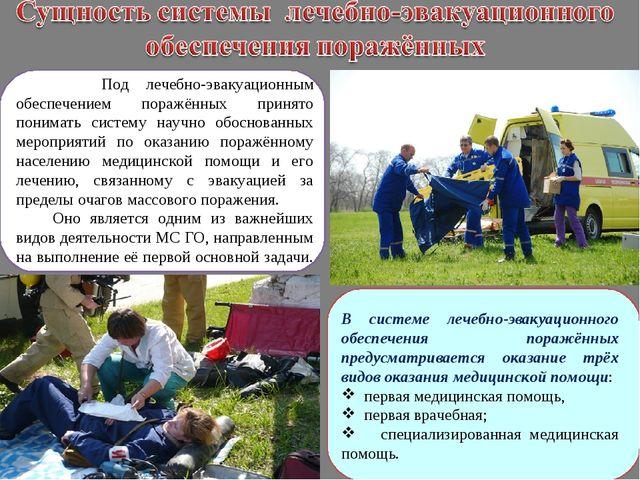 Под лечебно-эвакуационным обеспечением поражённых принято понимать систему н...