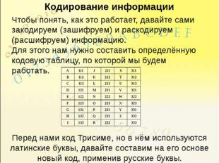 Кодирование информации Чтобы понять, как это работает, давайте сами закодируе