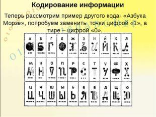 Кодирование информации Теперь рассмотрим пример другого кода- «Азбука Морзе»,