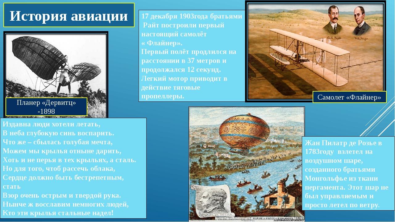 Планер «Дервитц» -1898 История авиации Издавна люди хотели летать, В неба глу...