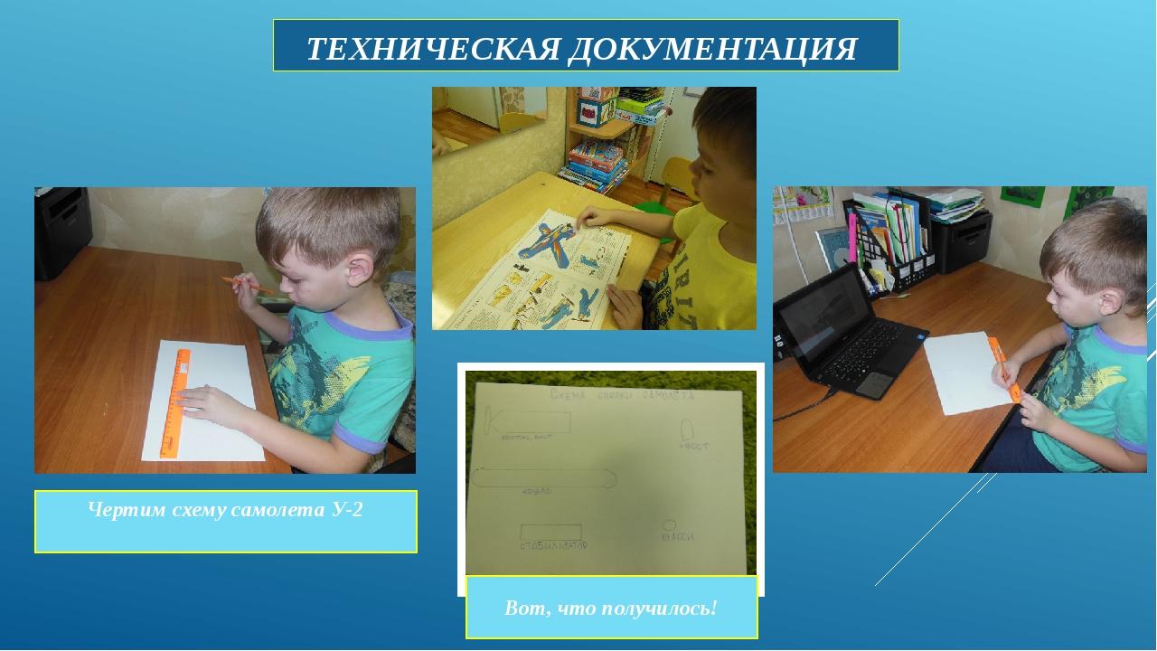 ТЕХНИЧЕСКАЯ ДОКУМЕНТАЦИЯ Чертим схему самолета У-2 Вот, что получилось!