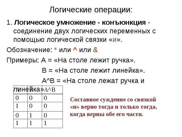 Логические операции: 1. Логическое умножение - конъюнкция - соединение двух л...