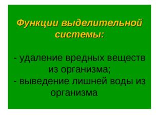 Функции выделительной системы: - удаление вредных веществ из организма; - выв