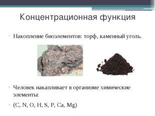 Концентрационная функция Накопление биоэлементов: торф, каменный уголь. Челов