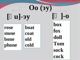 Oo (эу) [ͻ ]-о [əu]-эу rose stone bone phone boat coat old cold box fox doll