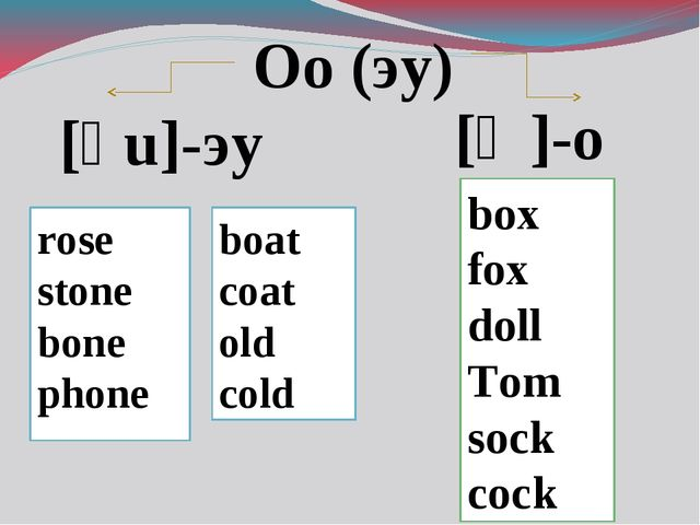 Oo (эу) [ͻ ]-о [əu]-эу rose stone bone phone boat coat old cold box fox doll...