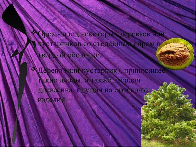 Орех - плод некоторых деревьев или кустарников со съедобным ядром в твёрдой...