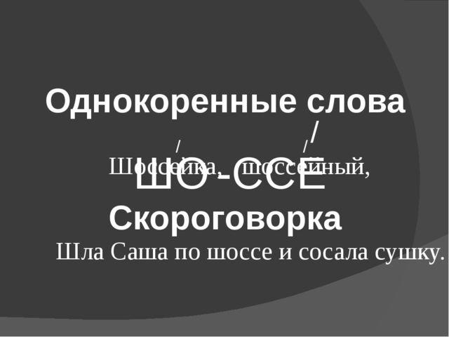 ШО -ССЕ / Однокоренные слова Шоссейка, шоссейный, / / Скороговорка Шла Саша п...