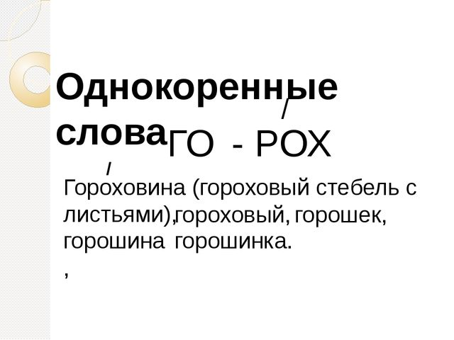 ГО - РОХ / Однокоренные слова Гороховина (гороховый стебель с листьями), / го...