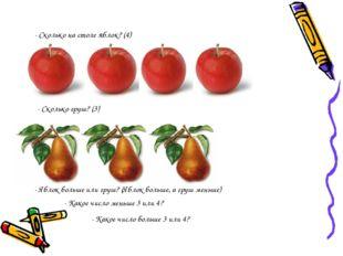 - Сколько на столе яблок? (4) - Сколько груш? (3) - Яблок больше или груш? (Я