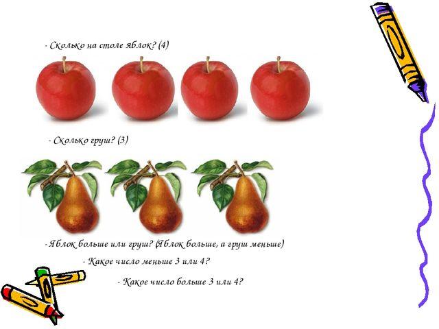 - Сколько на столе яблок? (4) - Сколько груш? (3) - Яблок больше или груш? (Я...