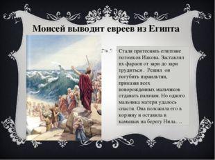 Моисей выводит евреев из Египта Стали притеснять египтяне потомков Иакова. За