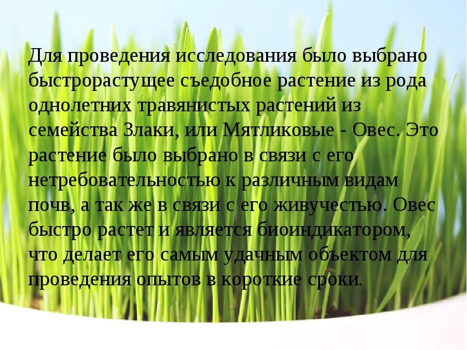 Для проведения исследования было выбрано быстрорастущее съедобное растение из...