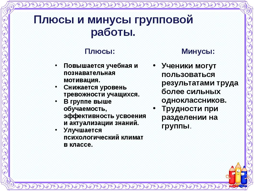 Плюсы и минусы групповой работы. Плюсы: Повышается учебная и познавательная м...