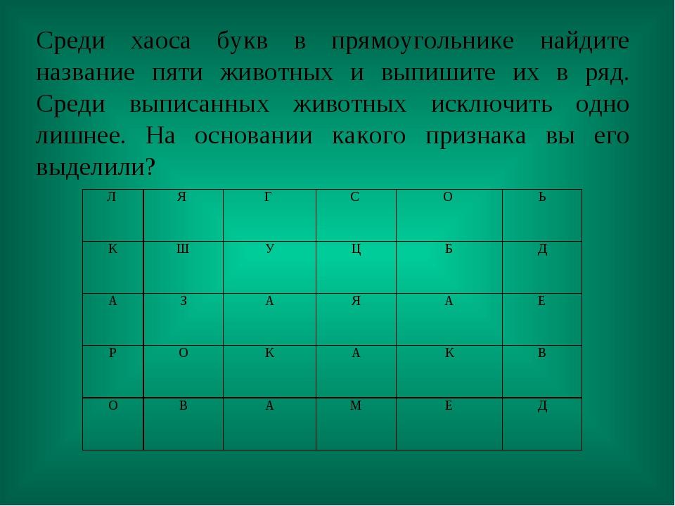 Среди хаоса букв в прямоугольнике найдите название пяти животных и выпишите и...