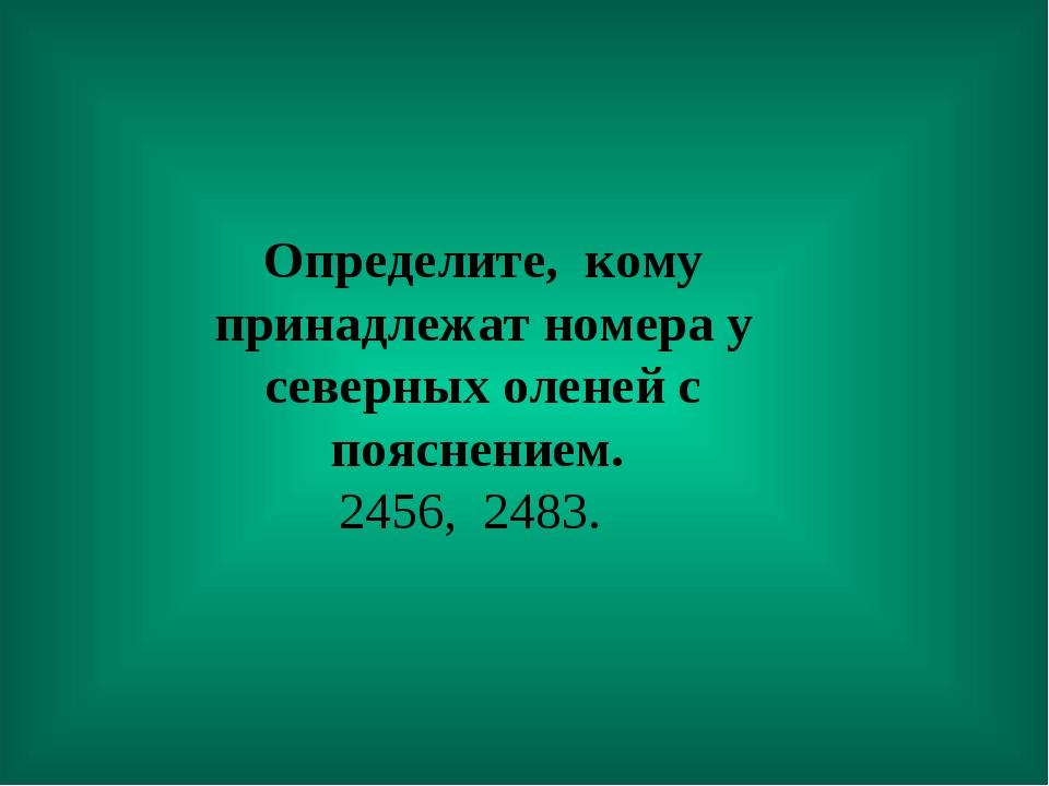 Определите, кому принадлежат номера у северных оленей с пояснением. 2456, 24...
