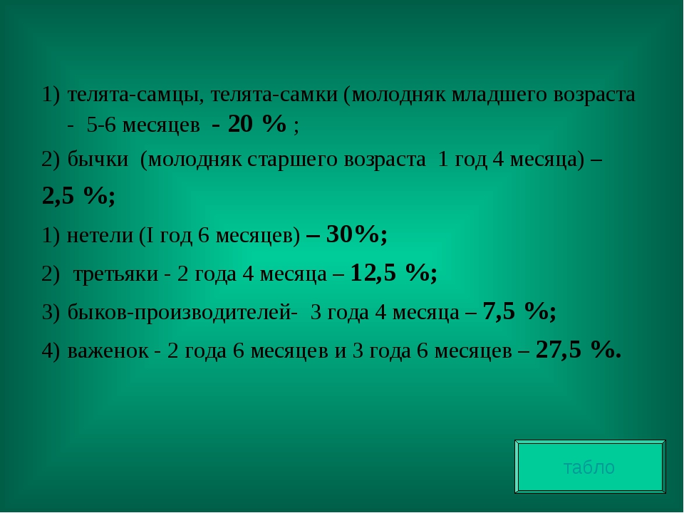 телята-самцы, телята-самки (молодняк младшего возраста - 5-6 месяцев - 20 %...