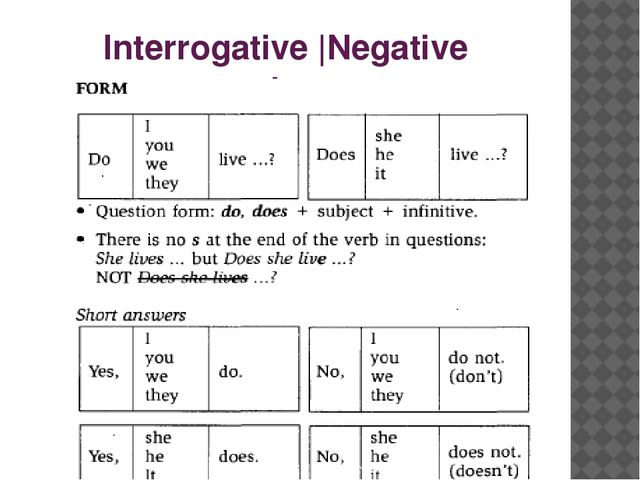 Interrogative |Negative sentence