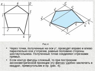 Через точки, полученные на оси у0, проводят вправо и влево параллельно оси х