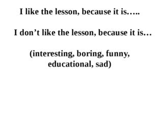 I like the lesson, because it is….. I don't like the lesson, because it is… (