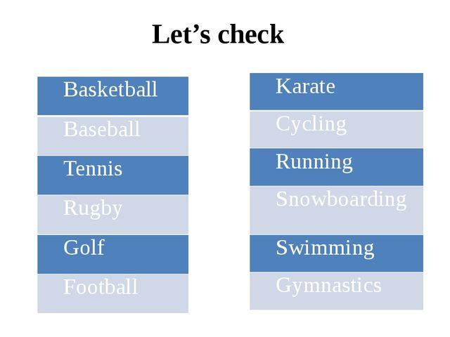 Let's check Basketball Baseball Tennis Rugby Golf Football Karate Cycling Run...