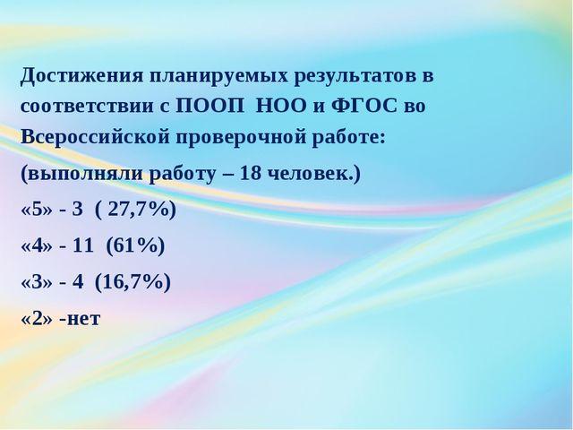 Достижения планируемых результатов в соответствии с ПООП НОО и ФГОС во Всерос...